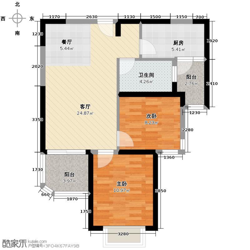 恒大海上夏威夷86.83㎡1、26、46号楼03户型3室2厅1卫