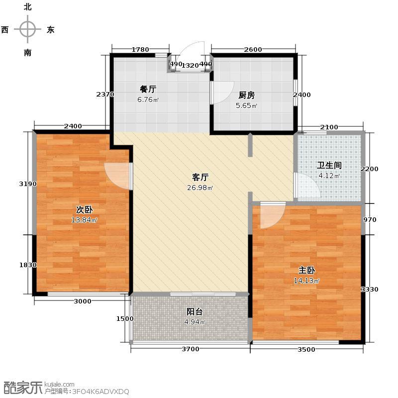 绿城玉兰花园89.15㎡四期7号楼E3户型2室2厅1卫