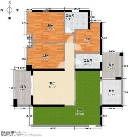 泊岸君庭3室1厅2卫1厨118.00㎡户型图