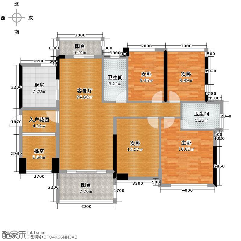 汇东国际花园133.10㎡C3栋04户型4室2厅2卫