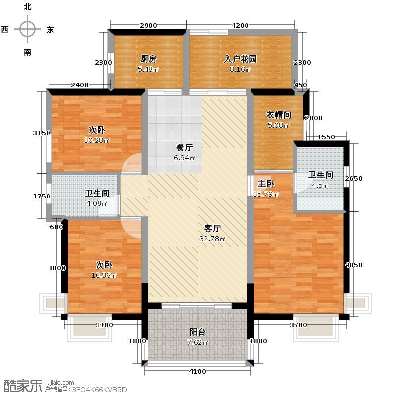 中信凯旋国际118.38㎡户型3室1厅2卫1厨