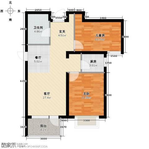 金隅・观澜时代2室2厅1卫0厨88.00㎡户型图