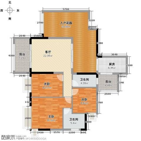 泊岸君庭3室1厅2卫1厨127.00㎡户型图
