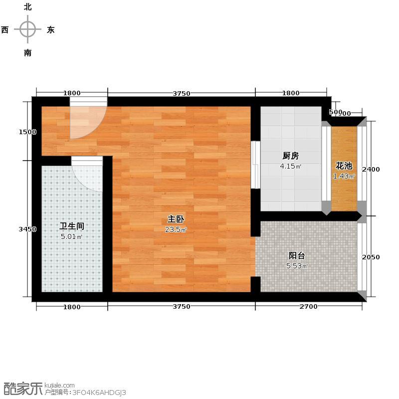 东尚蜂鸟46.96㎡户型1室1厅1卫