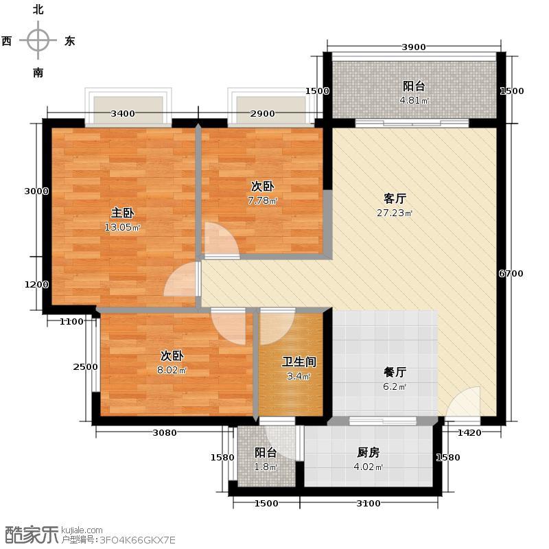 广州时代倾城86.00㎡1、5栋--03号房户型3室2厅1卫