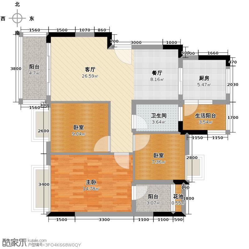 保利春天里94.30㎡9号楼2单元户型1室1厅1卫1厨