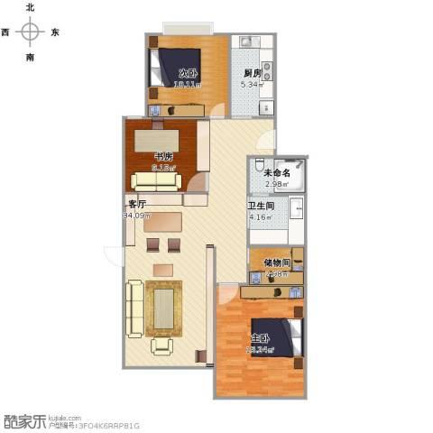 玉兰小区3室1厅1卫1厨113.00㎡户型图