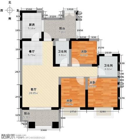 领馆国际城3室2厅2卫0厨95.00㎡户型图