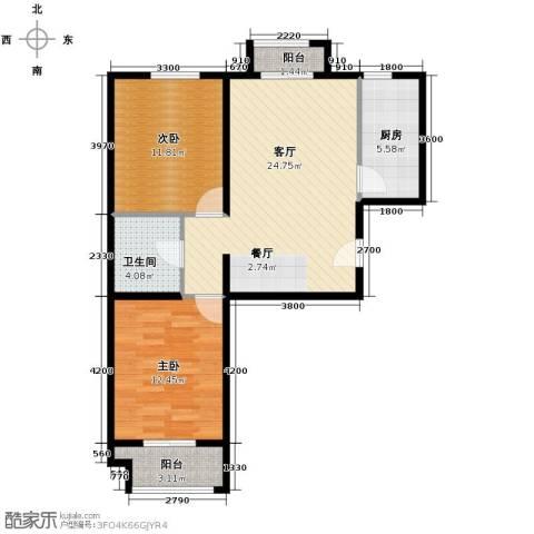 元龙水云间2室1厅1卫1厨89.00㎡户型图