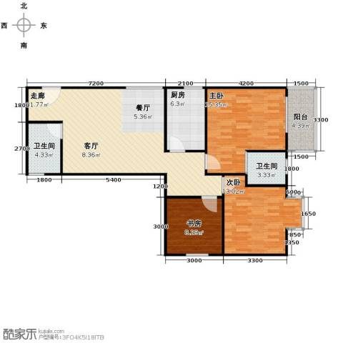 晟方佳苑3室0厅2卫1厨112.00㎡户型图