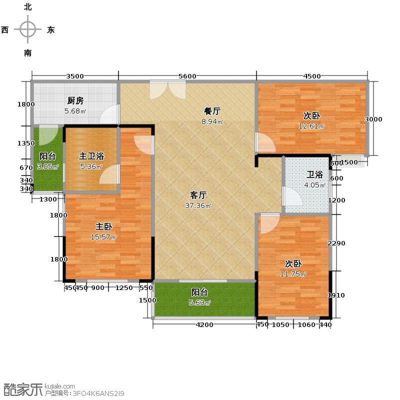 涉外国际公馆108.62㎡户型3室2厅2卫