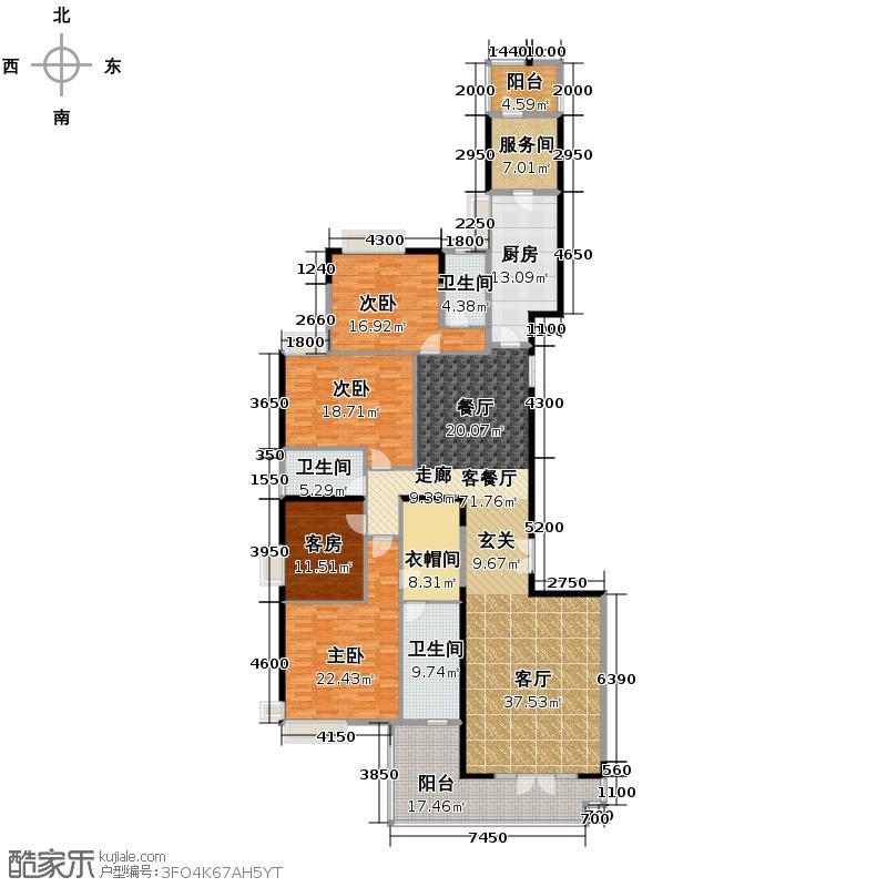 富力公园28273.00㎡A2栋5-12/15-30/33-40层02单元户型3室1厅3卫1厨