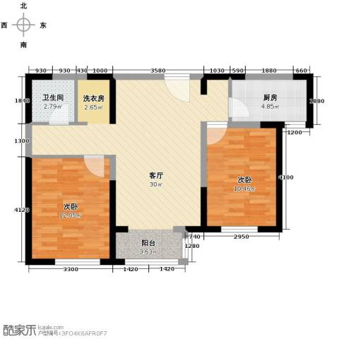 北宁湾2室2厅1卫0厨91.00㎡户型图
