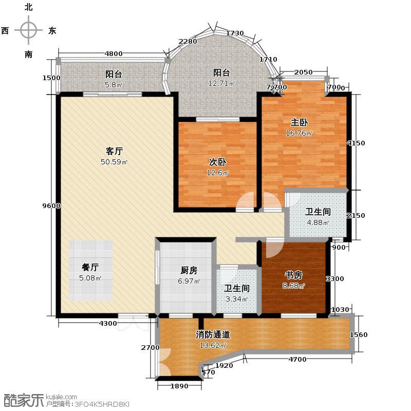 慕和南道139.53㎡E4\'奇数层户型3室1厅2卫1厨