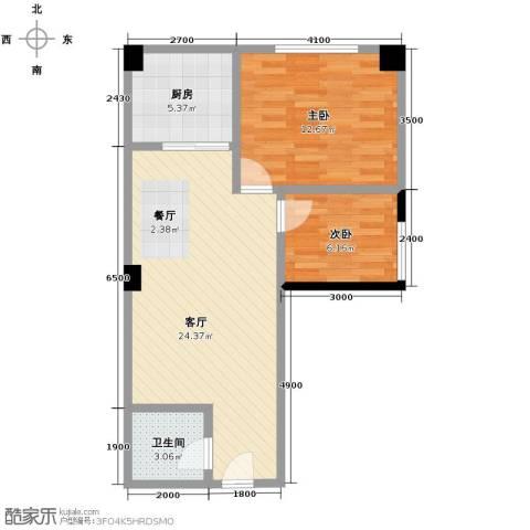 大鼎第一时间2室1厅1卫1厨74.00㎡户型图