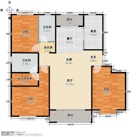 保利玫瑰湾3室2厅2卫0厨140.00㎡户型图