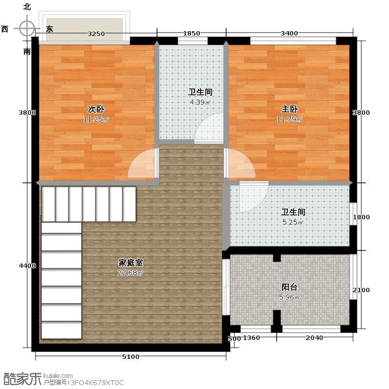 富力金港城254.00㎡双拼01二层户型5室2厅