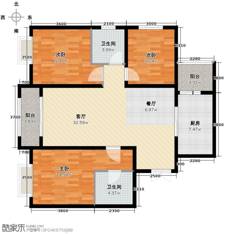 景泰茗苑114.35㎡4-A户型3室2厅2卫