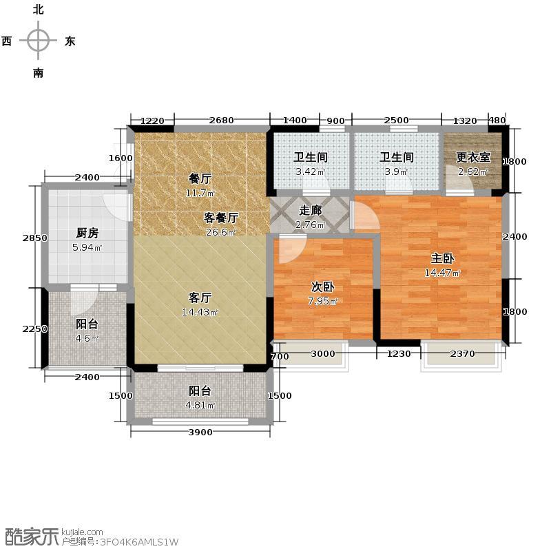 华润中央公园78.00㎡3号楼3号户型2室2厅2卫