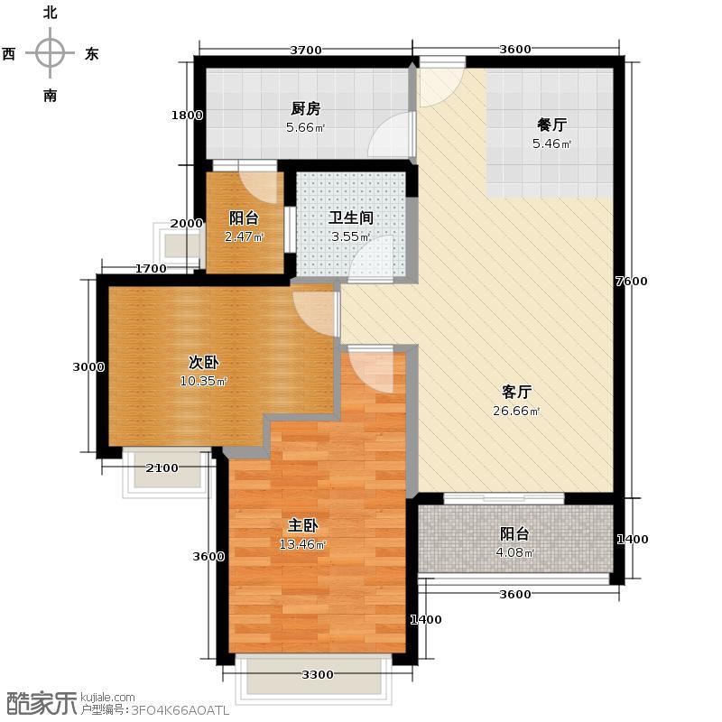 诺德名都90.00㎡5号楼二~九、十二~三十层A02户型2室2厅1卫