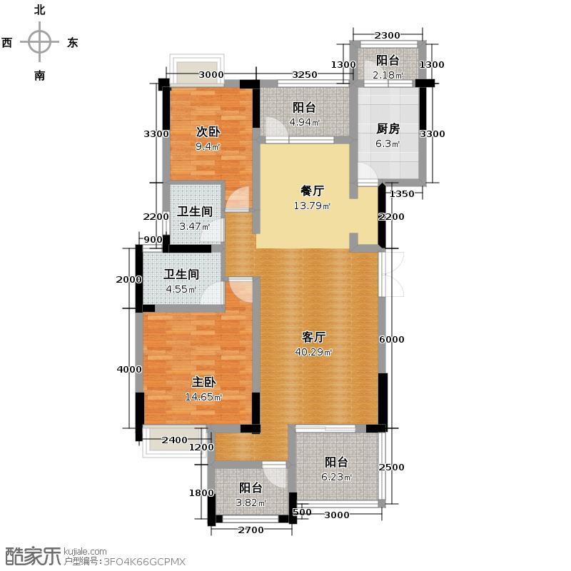 华宇天府花城111.24㎡11栋1号房标准层户型2室2厅2卫