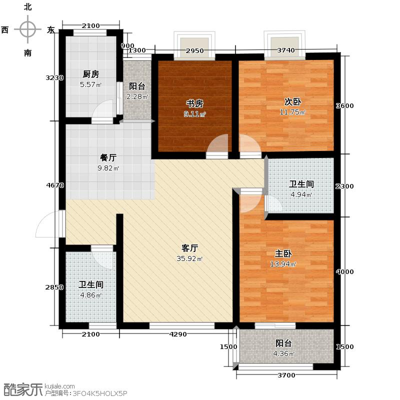 海�时代137.85㎡H户型3室1厅2卫1厨