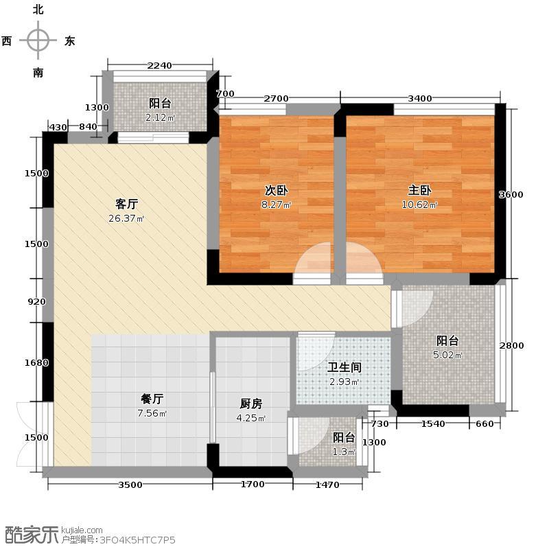 华宇金沙时代65.36㎡16号楼5号房户型2室1厅1卫1厨