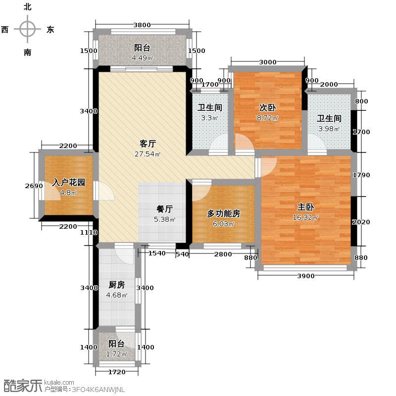 瀚林美筑88.53㎡户型2室1厅2卫1厨