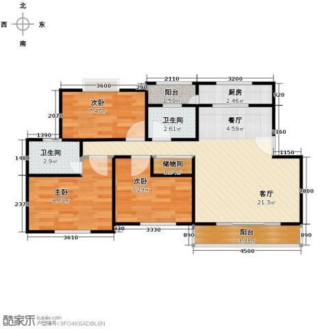 古城新境3室1厅2卫1厨81.00㎡户型图