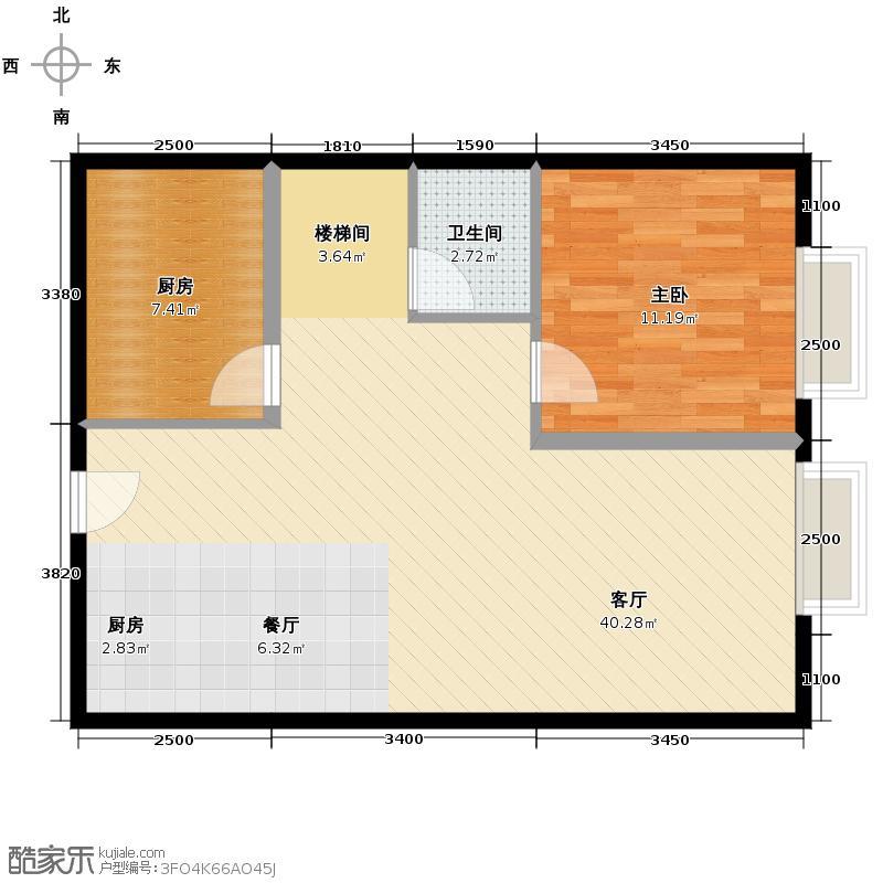 华景里80.00㎡理想地公寓02户型3室2厅2卫