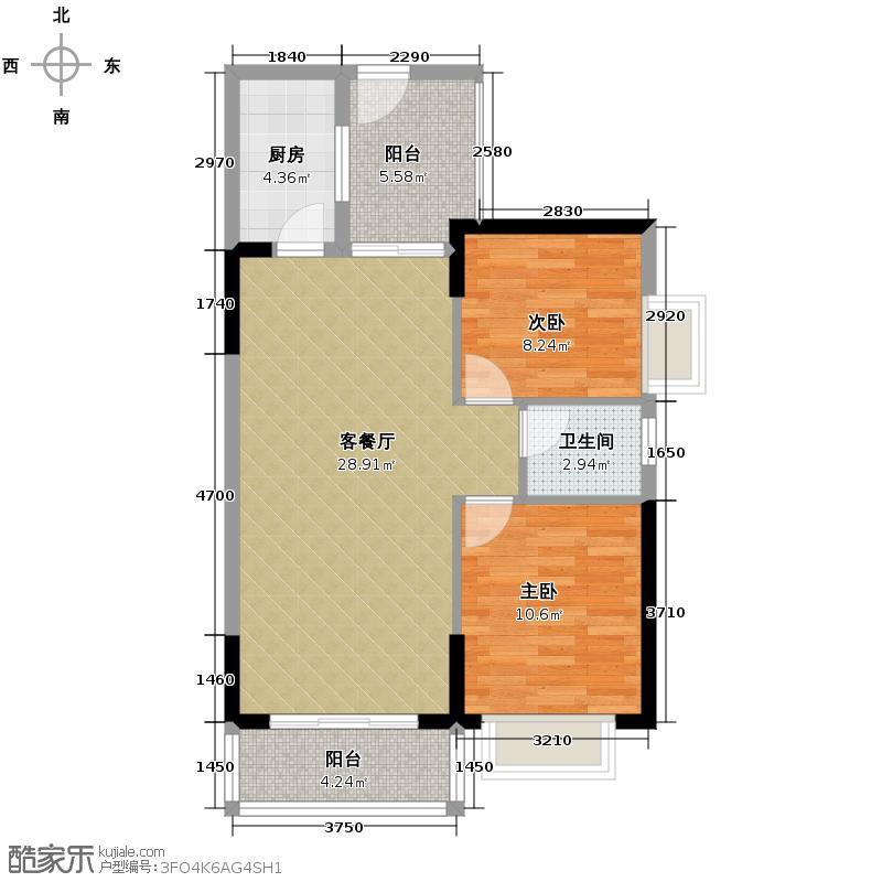 珠江怡景湾89.00㎡4、5号楼01单元户型2室1厅1卫1厨