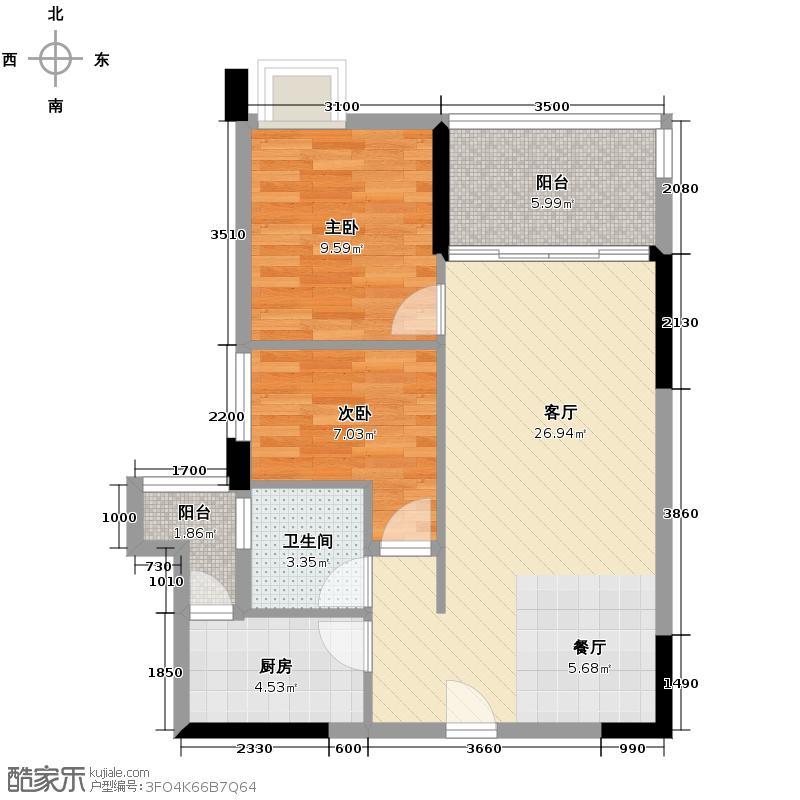 金色华庭三期可可园73.44㎡4栋1单元标准层01户型2室1厅1卫1厨