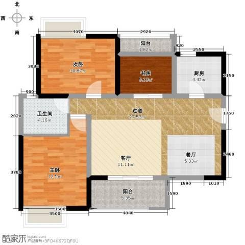 万科柏悦湾3室0厅1卫1厨104.00㎡户型图