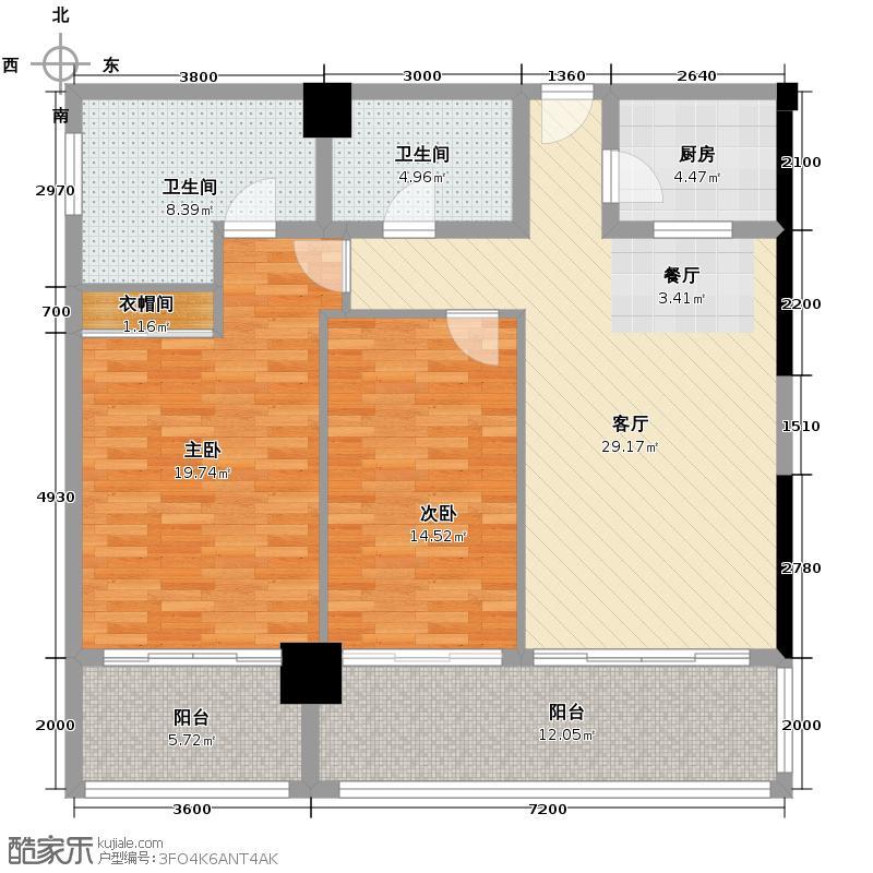 锦绣香江129.00㎡布查特国际公寓608单元户型10室