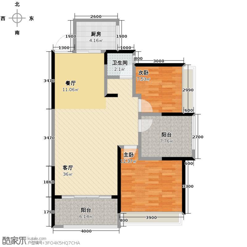 新里程潇湘名城98.13㎡1栋0509户型2室2厅1卫