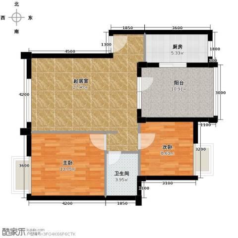 万科红郡2室2厅1卫0厨84.00㎡户型图
