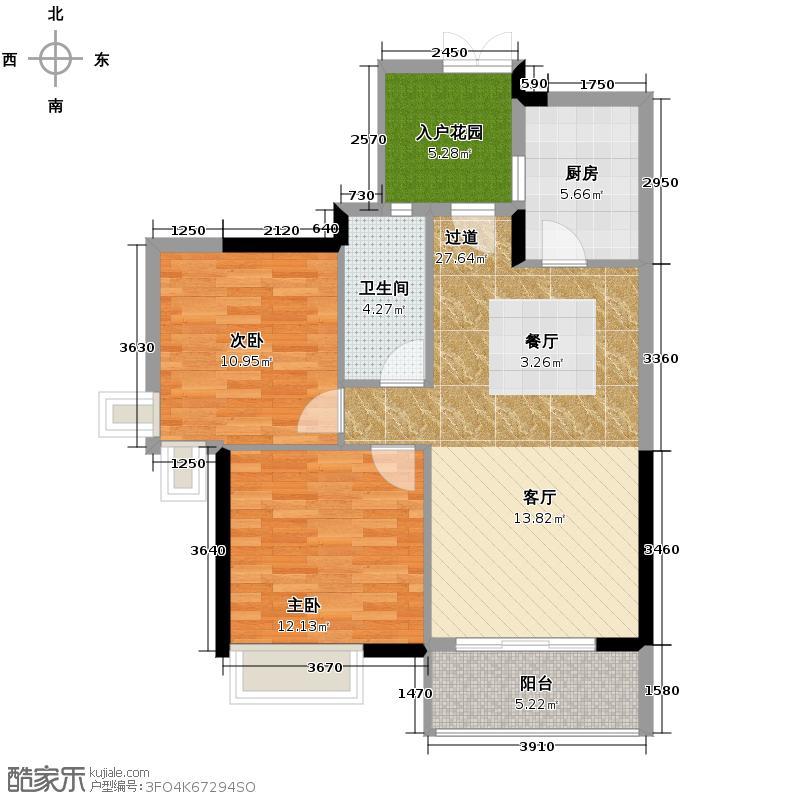 翡翠绿洲91.00㎡N型18-21栋标准层02单元户型2室2厅1卫