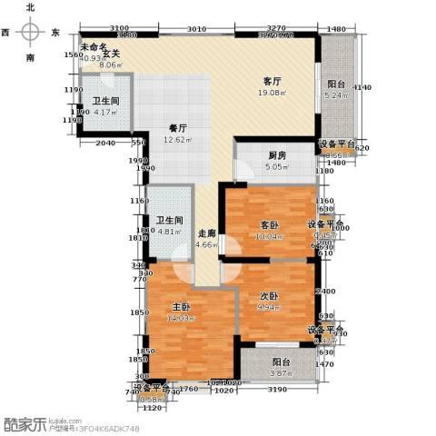 天伦御城龙脉3室2厅2卫0厨137.00㎡户型图