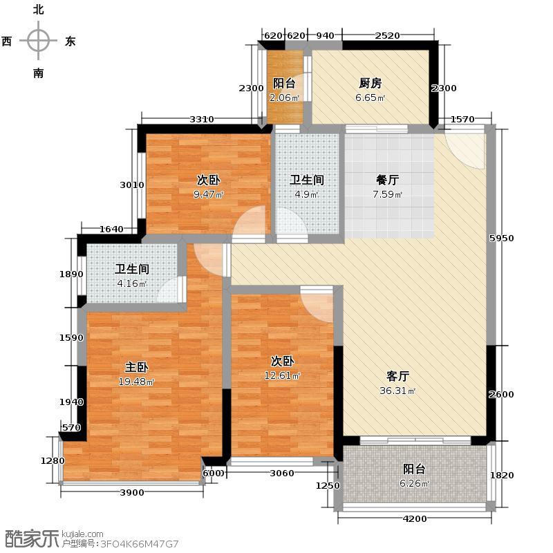 恒大银湖城126.04㎡7栋3-18层02户型3室2厅2卫