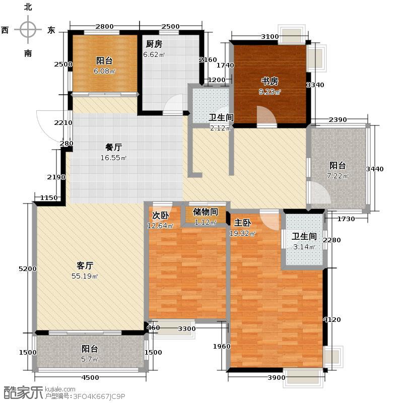 太湖国际社区148.33㎡悦湖A1户型3室2厅2卫