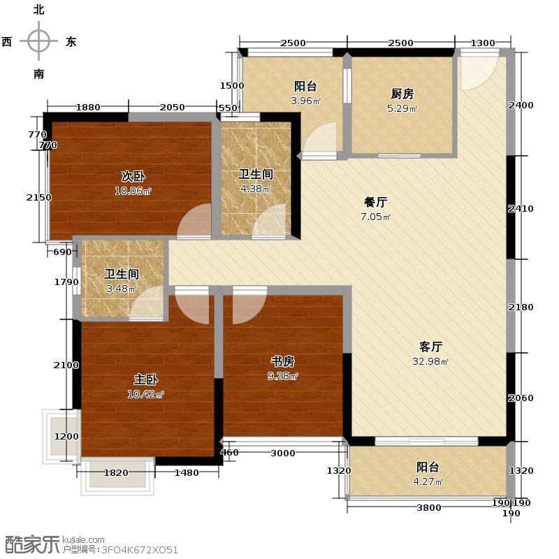 宏桂东�101.33㎡2+户型3室2厅2卫