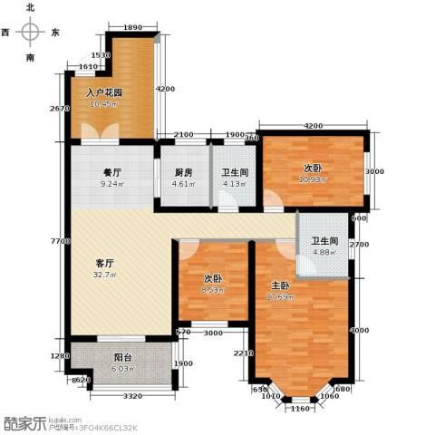 龙湖花千树3室1厅2卫1厨143.00㎡户型图