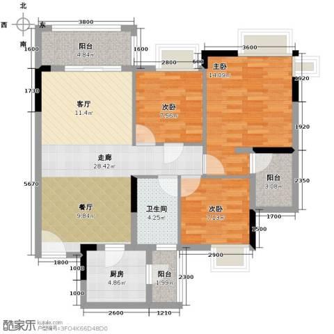 保利春天里3室0厅1卫1厨91.00㎡户型图