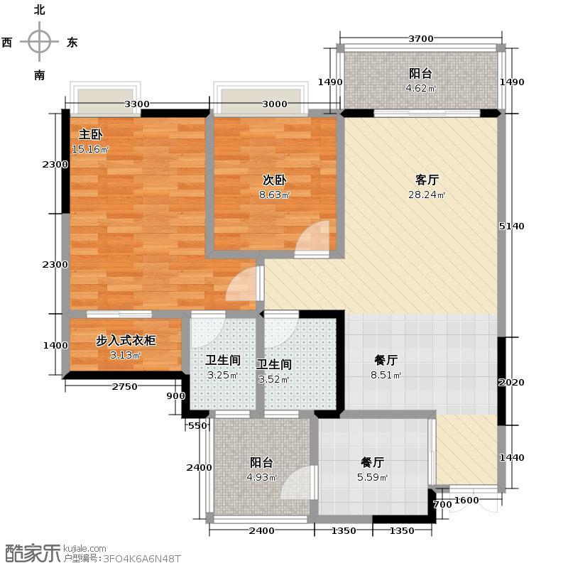 华润中央公园82.50㎡二期5号楼标准层B2带衣帽间户型2室2厅2卫