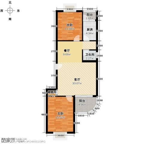 龙腾随园2室2厅1卫0厨105.00㎡户型图