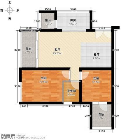 财信沙滨城市2室2厅1卫0厨78.00㎡户型图