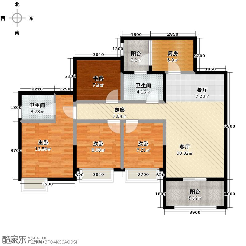 保利春天花语112.00㎡电梯C3-1型户型4室2厅2卫