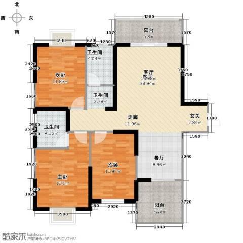 太白里3室1厅2卫0厨128.00㎡户型图