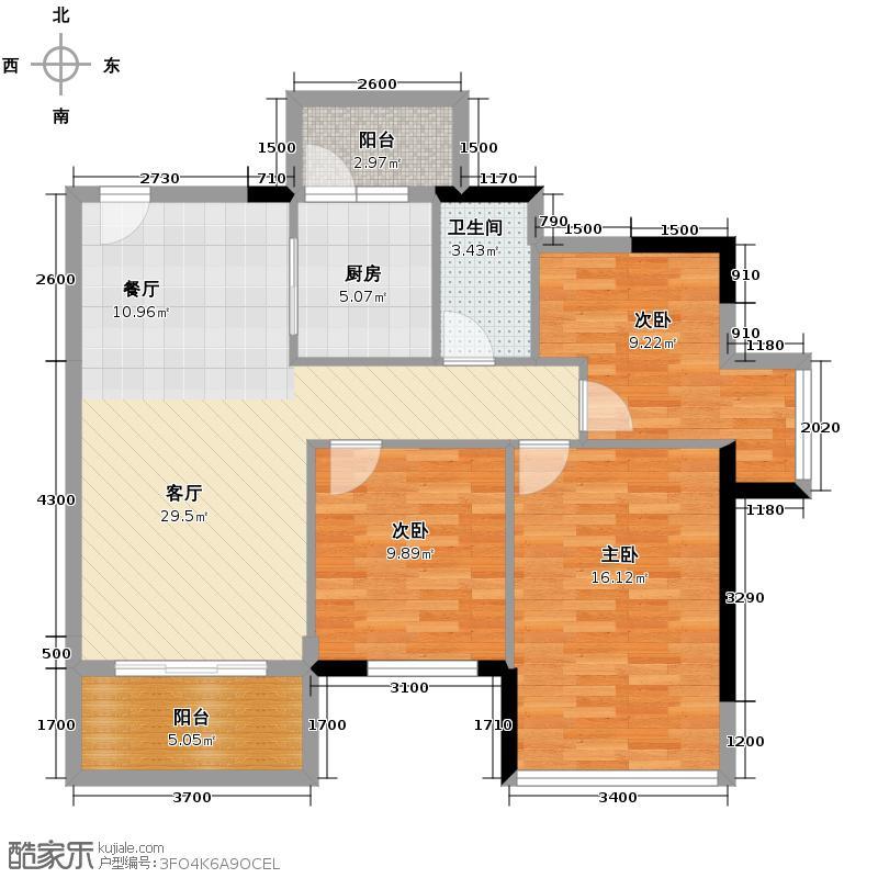 富力金港城95.00㎡L2/L3/L4栋01户型3室2厅1卫