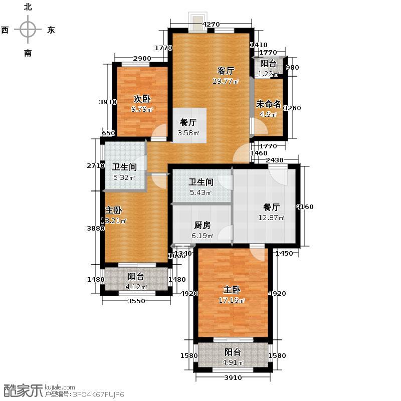 世嘉光织谷133.39㎡18#楼A2、B10户型3室2厅2卫1厨
